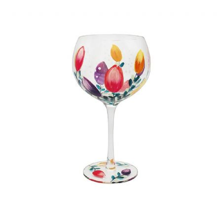 Hand Painted Tulip Gin Glass